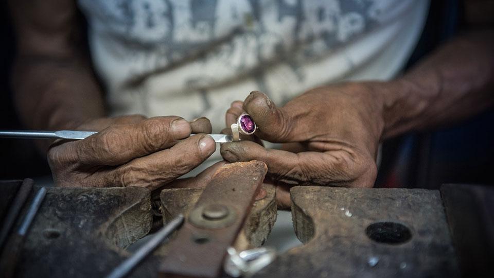 Steel, Aluminium, Copper and Precious Stones